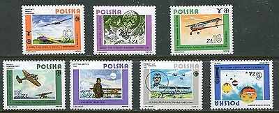 Poland 1984 Aviation - Airplanes Mint Never Hinged Complete  Set Of 7 Stamps!