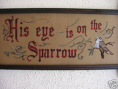 Antique motto sampler Kit.His eye is on the sparrow;new