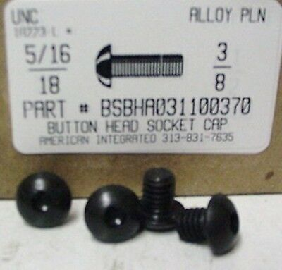 5/16-18x3/8 Button Head Hex Socket Cap Screws Alloy Steel Black (25)