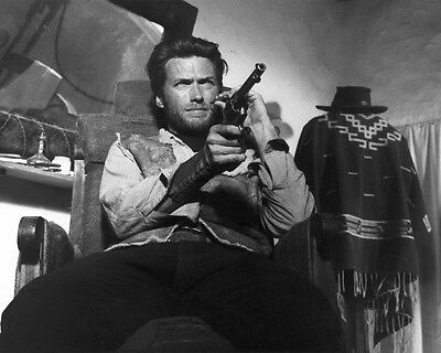 Clint Eastwood Barechested With Gun B&w 8X10 Photo