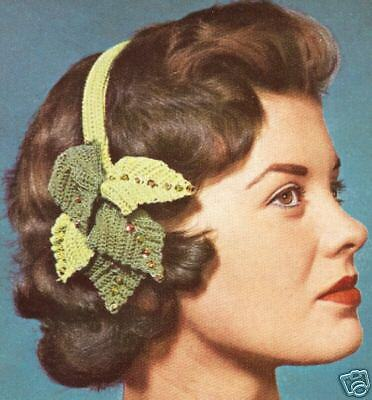 Vintage Crochet PATTERN to make Hair Band Holiday Xmas Leaf Hat