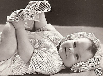 Vintage Crochet PATTERN to make Baby Booties Bonnet Sacque Rose Irish Baby Set