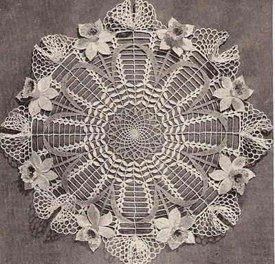 Vintage Crochet PATTERN to make Daffodil Doily Flower Motif Mat Centerpiece