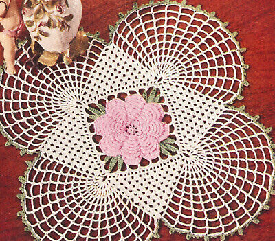 Vintage Crochet Pattern To Make Irish Rose Square Doily Mat Motif