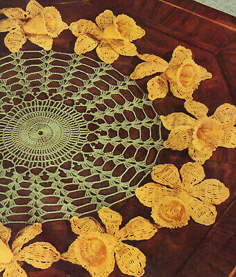 Vintage Crochet PATTERN to make Daffodil Flower Doily Mat Motif Centerpiece
