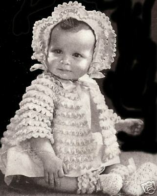 Vintage Crochet PATTERN to make Baby Sacque Jacket Bonnet Booties Set Ripples