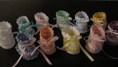 Vintage Crochet PATTERN to make Baby Booties Ribbon Thread Soft Shoes ThreadRibb