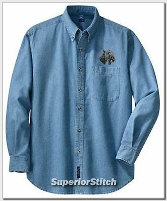 KERRY BLUE TERRIER embroidered denim shirt XS-XL