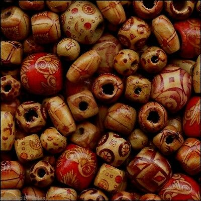 Lot 500 Bamboo Patterned Craft Beads Mixed Shapes/Sizes (Lightweight Strong Wood