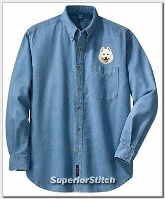 SAMOYED embroidered denim shirt XS-XL
