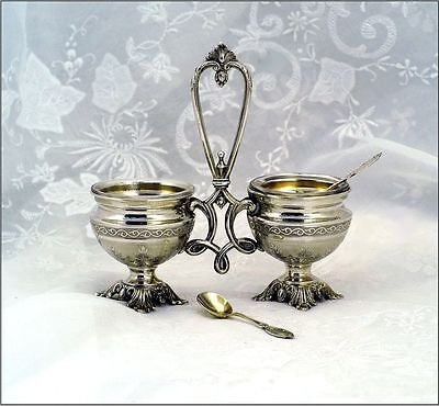 Antique French Sterling Vermeil Open Salt Caddy