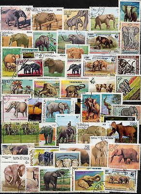 Wonderful Collection Of Elephant Stamps - No Duplicates