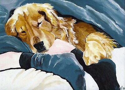 12x16 Golden Retriever Signed Dog Art PRINT of Original Painting by VERN