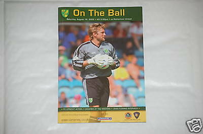 Norwich v Rotherham Programme 16th Aug 2003