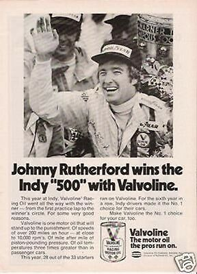 1974 AD Valvoline Racing Oil Johnny Rutherford Indy 500