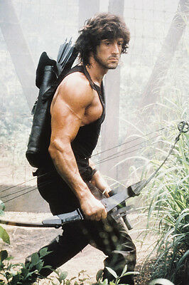Sylvester Stallone Rambo:first Blood Part Ii Poster With Crossbow In Jungle