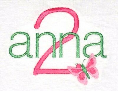 Personalized Girl's Birthday Shirt Custom Name Age Number with BUTTERFLY