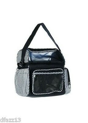 Navy & White Diaper Bag with Gingham Trim -NWT