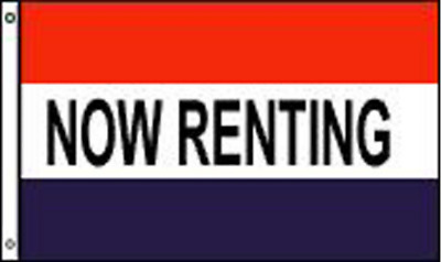 NOW RENTING 3X5 FLAG banner sign FL406 wall signs rent