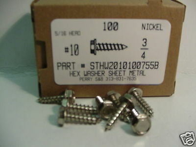 #10x3/4 Hex Washer Head Tapping Screws Steel Nickel Plated (100)