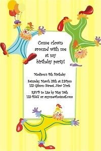 CLOWN CIRCUS CARNIVAL Birthday Party Invitations CUSTOM