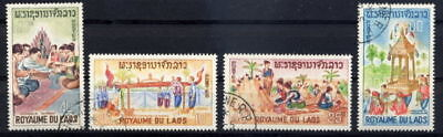 Laos 1966 Folklore - Buddhism Complete Set Of 4 Stamps!