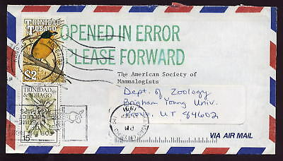 TRINIDAD 1991 COVER to MAMMALOGISTS USA OPENED IN ERROR