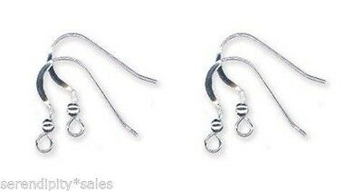 200 Solid Sterling SILVER 925 FRENCH HOOKS Bead Ball + Coil EarWires Earrings
