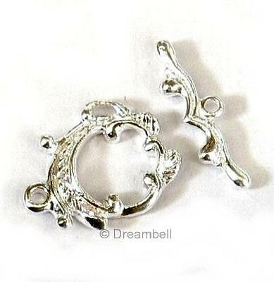 Sterling silver Round FLOWER LEAF Toggle Clasp 17.5mm
