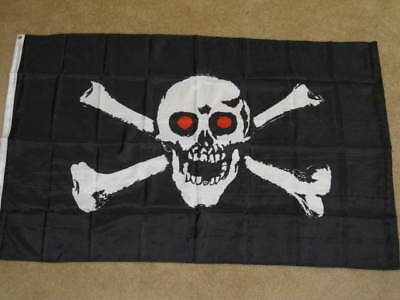 3x5 Jolly Roger Pirate Red Eyes Demon Blood Flag 3/'x5/' House Banner groomets