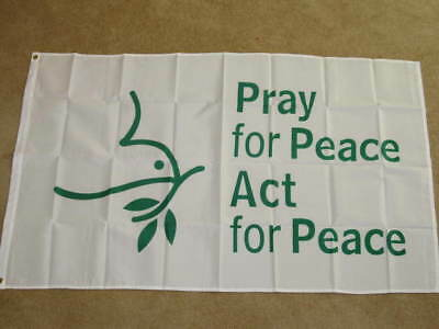 3X5 Pray For Peace Flag Sign Act World Dove New F167