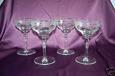 Fostoria sherbet champagne etched glasses set of 4 EUC
