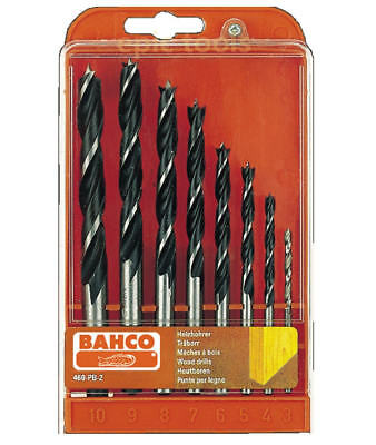 BAHCO 460-PB-2 8 Piece Wood Brad Point Lip & Spur Drill Bit Set, 3mm To 10mm