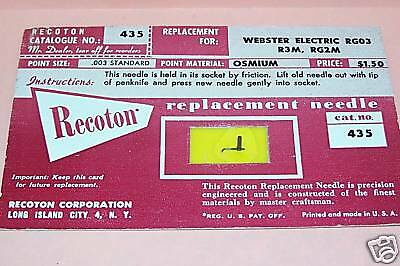 PHONOGRAPH RECORD PLAYER NEEDLE FOR Electrohome TR-18 TR-22