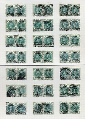 GB OFFICIAL ARMY QV 1/2d GREEN PAIRS.42 stamps cv£420