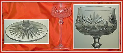 Antique CLEAR Wine Glass Hock Goblet BRILLIANT CUT LEAD CRYSTAL Bavaria, Germany