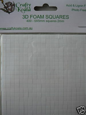 400 3D Adhesive Foam Squares/Dots Scrapbook Card Making 2 mm