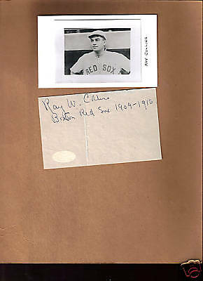 Ray Collins 1912 Red Sox signed autograph 3X5 + Pic JSA