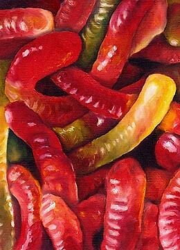 GUMMY WORMS Candy ACEO Mini Art PRINT of Painting VERN
