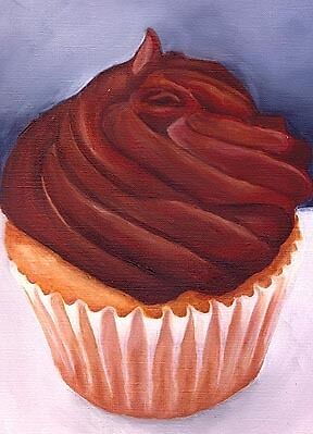 CHOCOLATE CUPCAKE ACEO Mini Art PRINT of Painting VERN