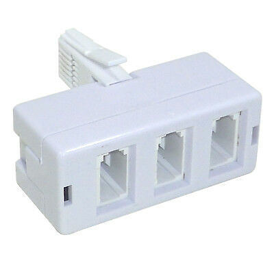 Triple BT Telephone 3 Way Phone Socket Splitter Adaptor