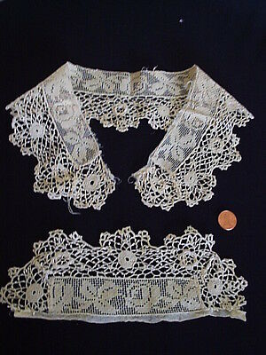 Unique Antique Knotted netting + irish crochet hand made set hand made