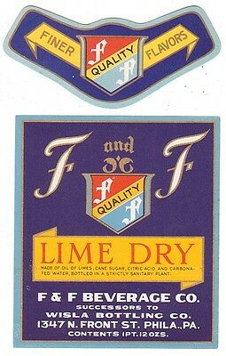 1930's F and F Lime Dry Label - Philadelphia, PA
