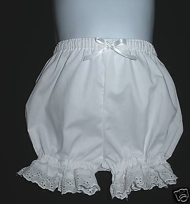 Infants Boutique Short White Bloomers w/Eyelet Custom
