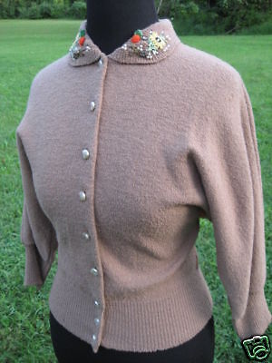 Vintage 1950s Jeweled Sweater Cardigan Top Brown Knit Retro Rockabilly Fitted