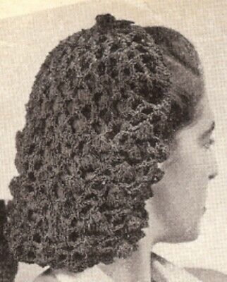 Vintage Crochet PATTERN Snood Hairnet hair net fishnet