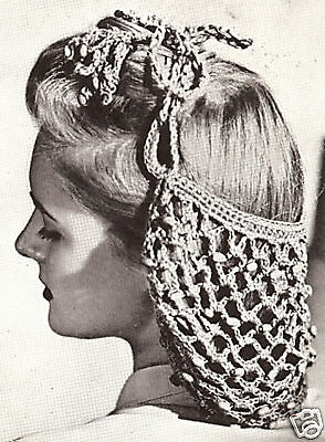 Vintage Crochet PATTERN to make Beaded Snood Hairnet hair net