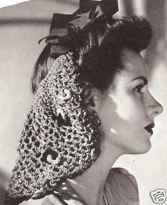 Vintage Crochet PATTERN to make Snood Hair Net Long Tied Design Bow Snood