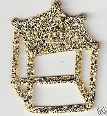 Gold Ancient Chinese Gazebo Embroidery Applique Patch