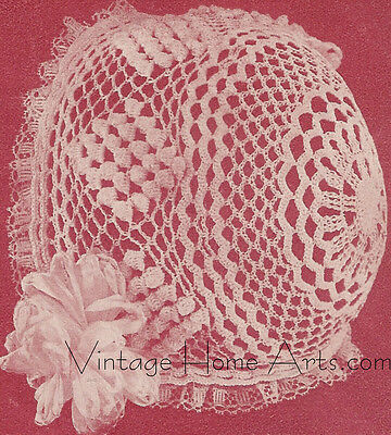 Vintage Antique Crochet PATTERN to make Baby Cap Hat Bonnet Popcorn 1912BabyCap